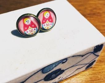 Matryoshka earrings , stud earrings , handmade earrings