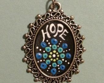 Hand Painted Hope Dot Mandala Pendant