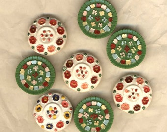 Buttons vintage eight buttons, flowers, various buttons 20 mm buttons, buttons, flowers, set of buttons
