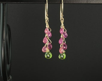 Pink Tourmaline Dangle Earrings w/ Peridot Heart Briolettes and 14k Gold Filled Findings *October Birthstone *August Birthstone *Natural Gem