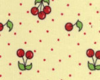 Red Cherries on Yellow Corduroy Finewale Featherwale Babywale 21 wale