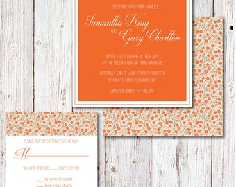 Orange Floral Wedding Invitation Set