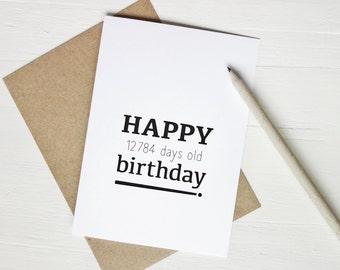 35th birthday card funny birthday card Happy 12784 days birthday for 35 year old