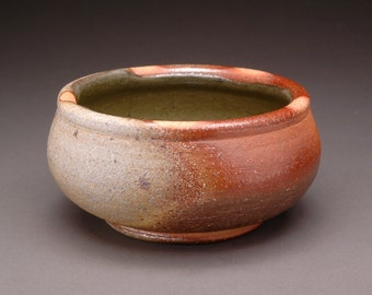 Brown and Gray Wood Fired Shallow Soup Bowl with Olive Green Celadon Liner