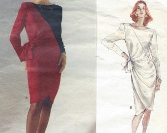 80s Bellville Sassoon Womens Color Block Dress with Tulip Skirt Vogue Sewing Pattern 2408 Size 14 Bust 36 Vogue Designer Original