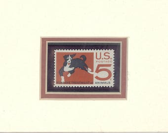 postage stamp art,dog, art,arts and collectibles,stamp art