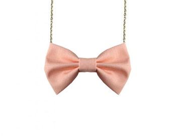 Peach Bow Tie Necklace, Salmon Casual Women Bowtie, Bridesmaids Bow Tie, Peach