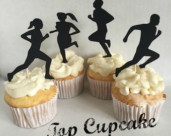 Running / Jogging Cupcake Toppers - 12