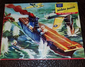 """Vintage 1943 Victory Jigsaw Puzzle  WW2  Military """"Plane Carrier at Tunis"""" Complete"""