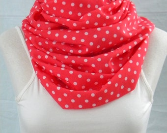 The Coral Polka Dot Infinity Scarf - Lightweight Infinity Scarf - Coral and White Polka Dots