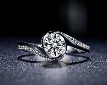 Round Cut Moissanite Engagement Ring 14k White Gold Forever One Moissanite Ring Diamond Engagement Ring Twisted Band Charles & Colvard