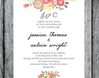 Printable Floral  Wedding Invitation with many Add Ons!, customizable colors and RSVP postcard