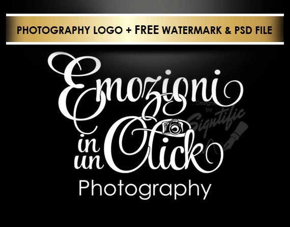 Photography logo free watermark and PSD source file, photographer watermark, photo signature, business logo, camera logo, name signature