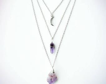 Layered Chain Healing Quartz Crystal Necklace - Amethyst, Silver Crescent Moon Boho - Rough Raw Natural Stone - Bohemian Jewellery