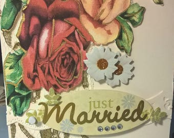 Vintage flowers wedding card