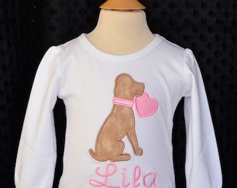 Personalized Valentine's Dog Puppy Heart Applique Shirt or Bodysuit Girl or Boy
