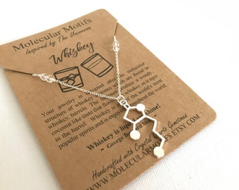 Whiskey Molecule Necklace-Whiskey Lactone Bourbon Alcohol Molecule Necklace-Science Chemistry Gift Necklace with Gemstones