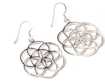 Sterling Silver Seed of Life Earrings, handmade,Yoga Earrings with hooks,  Indian Jewellery, Gift boxed,Free UK post