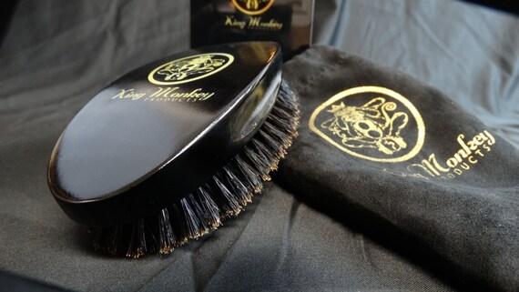 KING MONKEY PRODUCTS - 1776 Natural Boar Bristle Palm Hair & Beard Brush %100 Pure Boar Bristle Unisex Cushion Hair Brush Plus Velvet Bag