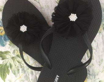 Black Shabby chic flip flop with rhinestone center bridal party  wedding flip flops summer flip flops sandals