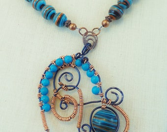 Blue Copper Heart  -  Copper and Vintage Bead  Free Form Pendant