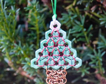 Hex Nut and Chainmaille Christmas Tree Ornament