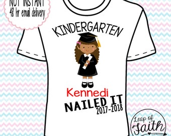 DIGITAL IMAGE: Nailed it Grad Girl African American shirt with Name and Year