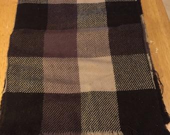Brown Plaid Wool Scarf