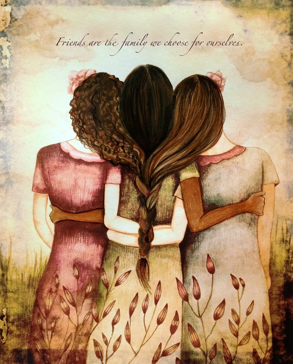 side by side or miles apart, sisters will always be connected by heart with brown curly and blond hair