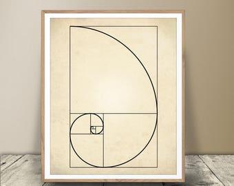 Fibonacci Print, Digital Download, Fibonacci Jpeg, Science Art, Math Art, Fibonacci Printable, Fibonacci Sequence, Minimalist Art, Fibonacci