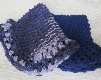 Knit Dishcloth/Washcloth/Dish Rag/Wash Rag Set of two Made with 100% Cotton Yarn in Purple's Ready to ship