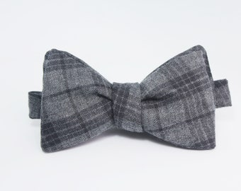 Plaid Grey Self Tie Bow Tie