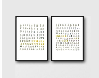 Watercolor neutral grey paintings, Set of two prints, Office Decor, Grey yellow minimalist painting, abstract art