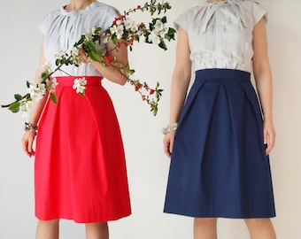Pleated skirt, midi, cotton, navy, black, red, beige, with pockets, knee length, cream, high waist, office, elegant, turquoise, teal