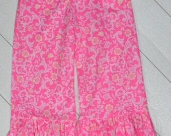 Pink Scroll Ruffle Pants Size 7