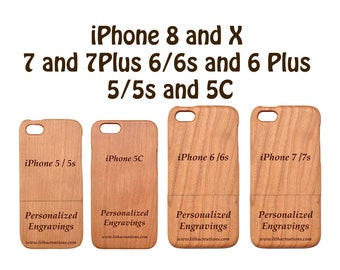 Wood Phone Case with Personalized Custom Engraving for iPhone 8 X 6 6s 6 plus 7 7 plus 5 5s 5C Natural Cherry Wooden Cover