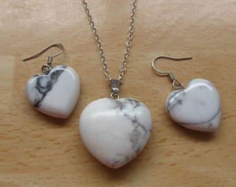 Howelite gemstone Jewelry Heart set - puff heart polished Howelite pendant-18 inch silver necklace-drop dangle white matching  earrings JS2