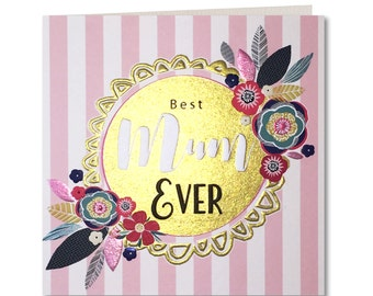 Breton Collection - Happy Mothers Day Card - Best Mum Ever - Stripes - Floral - Laura Darrington Design - BR13