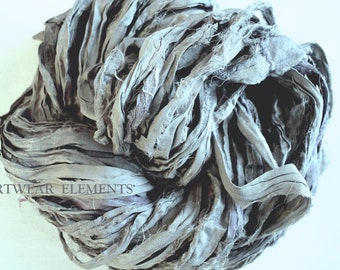 Pure Sari Silk, Vintage Art Deco Silver Gray Lavender, Fair Trade, 6 Yards, UniqueTextile, Art Yarn, Yarn, Ribbon, ArtWear Elements #9b