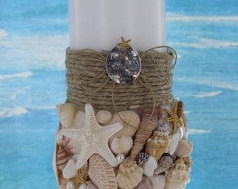 Beach Unity Candle set / Seashell Unity Candle and Taper Set / Seashell 3 Piece Set / Destination Wedding Candles