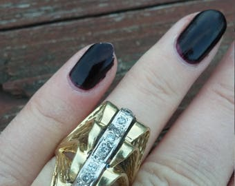 Victorian 14k Gold Diamond Ring Huge Stunning One Of A Kind 13.5 Grams