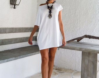 White Tunic / White Blouse / Plus Size Dress / Asymmetric Tunic / Oversized  Top / Summer Dress / Everyday Top / Loose Dress / #35014