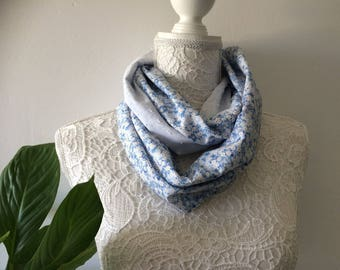Scarf femmeLiberty mitsi Valeria blue with white tulle