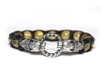 Luxury Lucky talisman Citrine Talisman for money Mens bracelet Prosperity bracelet Gift for businessman Gift for women Panther Gift for men