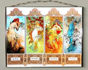Alphonse Mucha - Four Seasons = Spring, Summer, Autumn, Winter, Stained glass