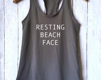 Resting Beach Face Tank,Beach Tank Top,Funny Summer Tank,Tumblr Shirt,Vacation Tank,Yoga Shirt,Funny Tank Top,Yoga Top,Funny Beach Shirt,RBT