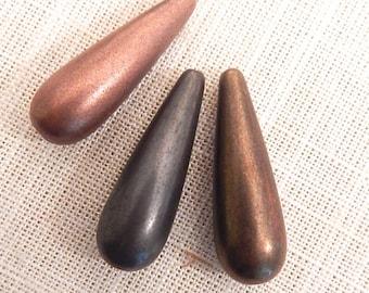 Oxidized Metal Plated Tears Shaped Beads x 6