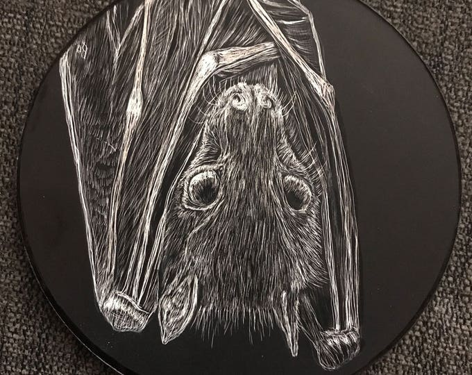 Fruit Bat Scratchboard Wall hanging/Ornament! Handmade and one of a kind!