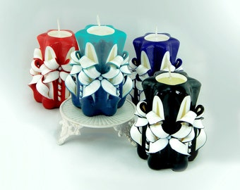 Gift for her, gift for wife, Womens gift, Candle set, Carved Candles, For Wife from husband, Four Different colors Available