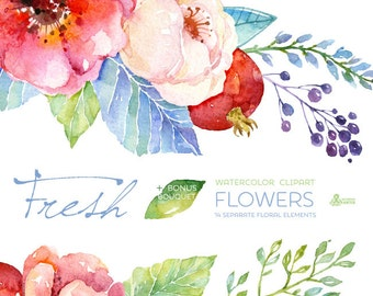 Fresh Flowers Clipart + Bouquet. Handpainted watercolor, wedding invitation, separate floral elements, greeting card, diy, pomegranate